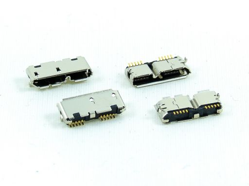8973-B10G30D2T | Micro USB 3.0 B type SMD Metal dip post